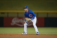 AZL Cubs second baseman Miguel Pabon (13) during an Arizona League game against the AZL Brewers at Sloan Park on June 29, 2018 in Mesa, Arizona. The AZL Cubs 1 defeated the AZL Brewers 7-1. (Zachary Lucy/Four Seam Images)