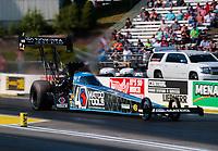 Jun 7, 2019; Topeka, KS, USA; NHRA top fuel driver Antron Brown during qualifying for the Heartland Nationals at Heartland Motorsports Park. Mandatory Credit: Mark J. Rebilas-USA TODAY Sports