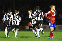 Jon Nolan of Grimsby Town celebrates scoring their fourth goal during the Vanarama National League match between Aldershot Town and Grimsby Town at the EBB Stadium, Aldershot, England on 5 April 2016. Photo by Paul Paxford / PRiME Media Images.