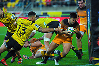 Jaguares captain Jeronimo De La Fuente scores during the Super Rugby match between the Hurricanes and Jaguares at Westpac Stadium in Wellington, New Zealand on Friday, 17 May 2019. Photo: Dave Lintott / lintottphoto.co.nz