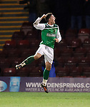 Matt Doherty scores goal no 2 for Hibs and celebrates
