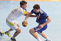 12.01.2013 Barcelona, Spain. IHF men's world championship, Quarter-Final. Picture show   in action during game between Russia vs Slovenia at Palau ST Jordi