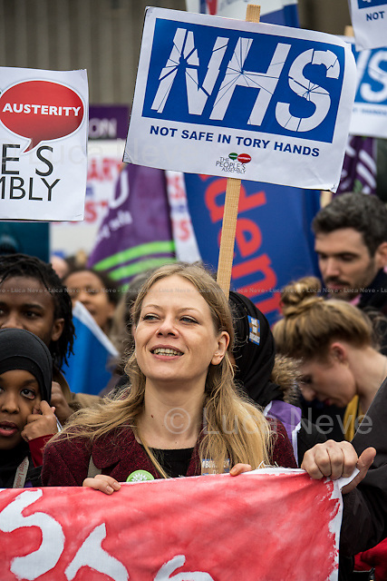 Sian Berry (Green Party candidate for Mayor of London).<br /> <br /> London, 09/01/2016. Today, about 5,000 people, including doctors, student nurses, midwives, junior doctors and other healthcare professionals marched from the Saint Thomas Hospital to Downing Street to protest against the Conservative Government's plan to scrap bursaries for nursing and midwifery students from 2017. The demonstration was organised by the King's College London students and supported by trade unions and other organizations fighting against the plan to privatise the NHS (National Health Service).<br />  <br /> For more information please click here: http://on.fb.me/1IWbWg9<br /> <br /> To sign the online petition please click here: https://petition.parliament.uk/petitions/113491