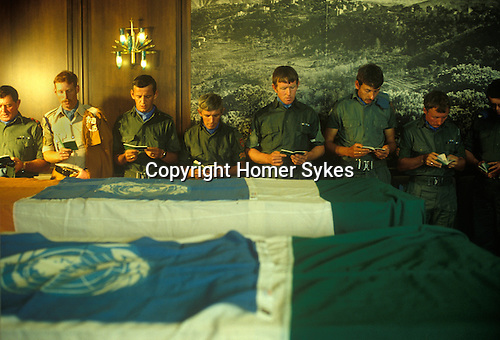 Irish UN United Nations troops Lebanon 1980s. A short service is help at Beirut airport, for two Irish solders killed by Haddad militia before being returned to Ireland. Irish soldiers were part of United Nations Interim Force in Lebanon