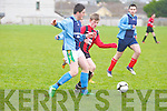 St Brendan's Park's Fionn Coakley and Castlemaine United's Jack McCarthy...