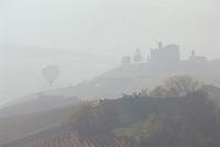 Italien, Piemont, Langhe, bei Alba: Landschaft im Morgennebel, Heissluftballon, schemenhaft | Italy, Piedmont, Langhe, near Alba: hazy landscape, hot-air balloon, dimly