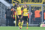 06.10.2018, Signal Iduna Park, Dortmund, GER, DFL, BL, Borussia Dortmund vs FC Augsburg, DFL regulations prohibit any use of photographs as image sequences and/or quasi-video<br /> <br /> im Bild Paco Alcacer (#9, Borussia Dortmund) jubelt nach seinem Tor zum 4:3 mit Achraf Hakimi (#5, Borussia Dortmund) <br /> <br /> Foto &copy; nph/Horst Mauelshagen