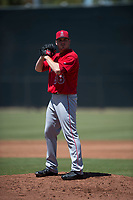 Los Angeles Angels starting pitcher Branden Pinder (36) prepares to deliver a pitch during an Extended Spring Training game against the Giants Black at the San Francisco Giants Training Complex on May 25, 2018 in Scottsdale, Arizona. (Zachary Lucy/Four Seam Images)