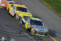 Oct 5, 2008; Talladega, AL, USA; NASCAR Sprint Cup Series driver Jimmie Johnson (48) leads Tony Stewart (20) during the Amp Energy 500 at the Talladega Superspeedway. Mandatory Credit: Mark J. Rebilas-