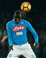 Kalidou Koulibaly  during the  italian serie a soccer match,between SSC Napoli Sassuolo       at  the San  Paolo   stadium in Naples  Italy , November 28, 2016