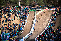 Belgian National Champion and later race winner Toon Aerts (BEL/Telenet Baloise Lions) leading the pack into the infamous 'Pit'. <br /> <br /> CX Superprestige Zonhoven (BEL) 2019<br /> Elite & U23 mens race