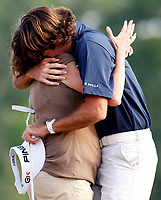 Bubba Watson embraces his mother after winning the Zurich Classic at TPC Louisiana on May 01, 2011, in Avondale, La.