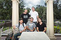 Occidental College students pose for a photo on Branca Patio, Sept. 16, 2015, back row, from left: Collin Evenson '16, Evan Lubin '16. Front row, from left: Kyle Yee '16, Charlie Caccamo '16 and Sebi Ohara-Saft '16.<br /> (Photo by Marc Campos, Occidental College Photographer)