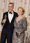 HOLLYWOOD, CA - FEBRUARY 24: Daniel Day-Lewis and Meryl Streep pose in the press room the 85th Annual Academy Awards at Dolby Theatre on February 24, 2013 in Hollywood, California.