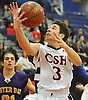 Matt Licciardi #3 of Cold Spring Harbor drives to the net for two points during a Nassau County varsity boys basketball game against Oyster Bay at Cold Spring Harbor High School on Monday, Jan. 16, 2017. Cold Spring Harbor won by a score of 72-45.