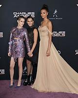 "LOS ANGELES - NOV 11:  Ella Balinska, Kristen Stewart, Naomi Scott at the ""Charlie's Angels"" Premiere at the Village Theater on November 11, 2019 in Westwood, CA"