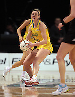 23.09.2012 Australian Bianca Chatfield in action during the third netball test match between the Silver Ferns and the Australian Diamonds at CBS Canterbury Arena in Christchurch. Mandatory Photo Credit ©Michael Bradley.