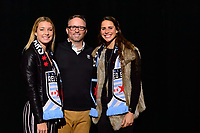 Philadelphia, PA - Thursday January 18, 2018: Indigo Gibson, Emily Boyd during the 2018 NWSL College Draft at the Pennsylvania Convention Center.