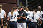30 MAY 2016: Messiah College Head Coach Amy Weaver cheers on her players during the Division III Women's Softball Championship is held at the James I Moyer Sports Complex in Salem, VA.  University of Texas-Tyler defeated Messiah College 7-0 for the national title. Don Petersen/NCAA Photos