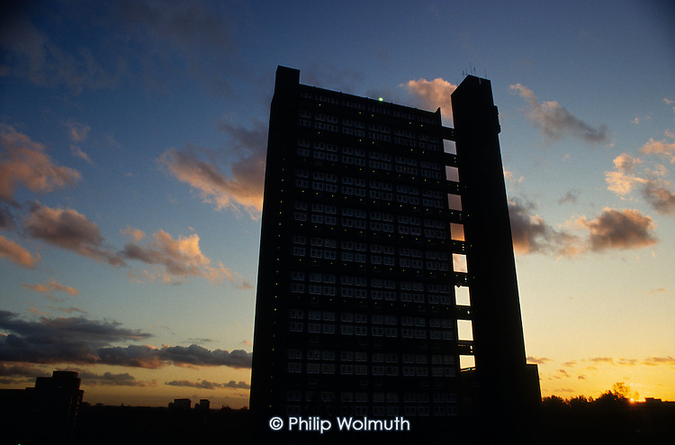Trellick Tower, designed by award winning architect Erno Goldfinger, in Kensingon & Chelsea, West London.