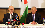 Palestinian Prime Minister ,Rami Hamdallah, speaks during a Press Conference in Gaza city on December 07, 2017. Photo by Prime Minister Office