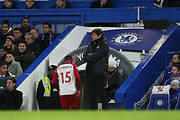 Daniel Sturridge of West Brom heads to the dressing room after being substituted within the first four minutes during Chelsea vs West Bromwich Albion, Premier League Football at Stamford Bridge on 12th February 2018