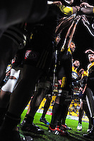 The Hurricanes huddle after winning the Super Rugby semifinal match between the Hurricanes and Chiefs at Westpac Stadium, Wellington, New Zealand on Saturday, 30 July 2016. Photo: Dave Lintott / lintottphoto.co.nz