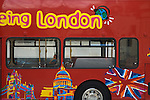 Red sightseeing bus, London UK