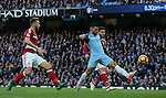 Sergio Aguero of Manchester City scores the first goal during the Premier League match at the Etihad Stadium, Manchester. Picture date: November 5th, 2016. Pic Simon Bellis/Sportimage