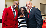 """WATERBURY,  CT-011820JS28- Kevin Clark, Chairman of the Waterbury NAACP Youth Council, Arlana Brantley, Youth President and Brother James Gibson,  at the """"Men with a Purpose"""" luncheon, a Dr. Martin Luther King, Jr. event celebrating men, at Grace Baptist Church in Waterbury. The event was sponsored by the Waterbury NAACP Youth Council.<br /> Jim Shannon Republican-American"""
