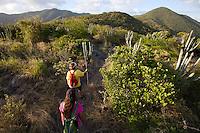Hikers Janet Simonsen and Brooke Morton along theTektite trail near Lameshur Bay<br /> St John<br /> U.S. Virgin Islands