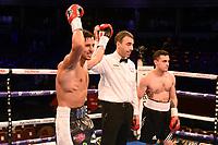 Harvey Horn (L) defeats Patrik Bartos during a Boxing Show at the Royal Albert Hall on 8th March 2019