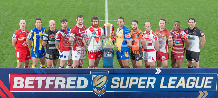 Picture by Allan McKenzie/SWpix.com - 02/02/2017 - Rugby League - Betfred Super League and Kingston Press Championships Launch 2017 - Leigh Sports Village - Leigh - England - Michael Dobson (Salford), Kurt Gidley (Warrington), Danny Houghton (Hull FC), Scott Grix (Wakefield), Sean O'Loughlin (Wigan), Kyle Amor (St Helens), Ryan Hall (Leeds), Luke Gale (Castleford), Mickey Higham (Leigh), Richie Myler (Catalans), Jermain McGillvary (Huddersfield), Hep Cahill (Widnes).