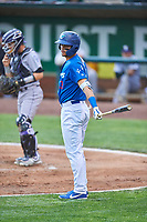Marco Hernandez (13) of the Ogden Raptors bats against the Grand Junction Rockies at Lindquist Field on June 17, 2019 in Ogden, Utah. The Rockies defeated the Raptors 9-0. (Stephen Smith/Four Seam Images)