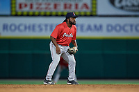Pawtucket Red Sox second baseman Josh Tobias (15) during an International League game against the Rochester Red Wings on June 28, 2019 at Frontier Field in Rochester, New York.  Pawtucket defeated Rochester 8-5.  (Mike Janes/Four Seam Images)