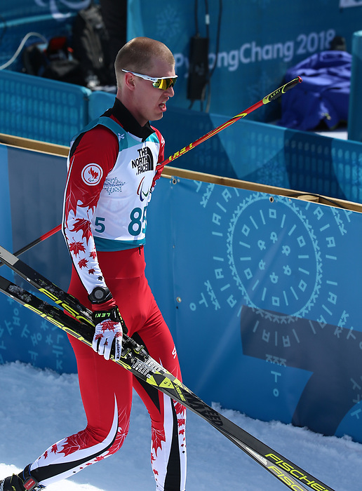 Pyeongchang, Korea, 10/3/2018- Mark Arendz wins silver in the mens 7.5km standing event in the Biathlon at the Alpensa Biathlon Centre during the 2018 Paralympic Games in PyeongChang. Photo Scott Grant/Canadian Paralympic Committee.
