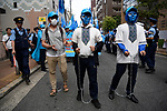 JUNE 29, 2019 - Uyghur activists wear chains at a demonstration during the G20 Summit in Osaka, Japan. (Photo by Ben Weller/AFLO) (JAPAN) [UHU]