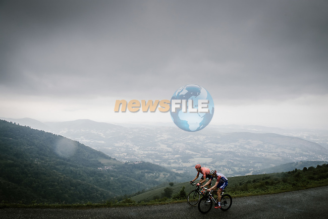 Countrymen Michael Schär (SUI) CCC Team and Stefan Küng (SUI) Groupama-FDJ climb Prat d'Albis together during Stage 15 of the 2019 Tour de France running 185km from Limoux to Foix Prat d'Albis, France. 20th July 2019.<br /> Picture: ASO/Pauline Ballet | Cyclefile<br /> All photos usage must carry mandatory copyright credit (© Cyclefile | ASO/Pauline Ballet)