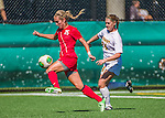 29 September 2013: Stony Brook University Seawolves Forward Shannon Grogan, a Junior from Eastampton, NJ, in action against the University of Vermont Catamounts at Virtue Field in Burlington, Vermont. The Lady Seawolves defeated the Catamounts 2-1 in America East play. Mandatory Credit: Ed Wolfstein Photo *** RAW (NEF) Image File Available ***
