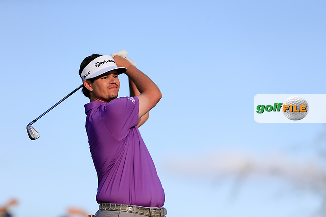 Beau Hossler (USA) on the 12th tee during the 2nd round of the Waste Management Phoenix Open, TPC Scottsdale, Scottsdale, Arisona, USA. 01/02/2019.<br /> Picture Fran Caffrey / Golffile.ie<br /> <br /> All photo usage must carry mandatory copyright credit (© Golffile | Fran Caffrey)