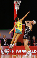 17.09.2008 Silver Ferns Irene Van Dyk and Australia's Mo'onia Gerrard in action during the New World Netball test match between the Silver Ferns and Australia played at Westpac Arena in Christchruch. Mandatory Photo Credit ©Michael Bradley.