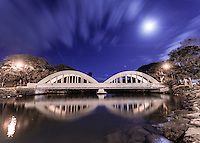 Anahulu Stream Bridge at night in Haleiwa, North Shore, O'ahu.