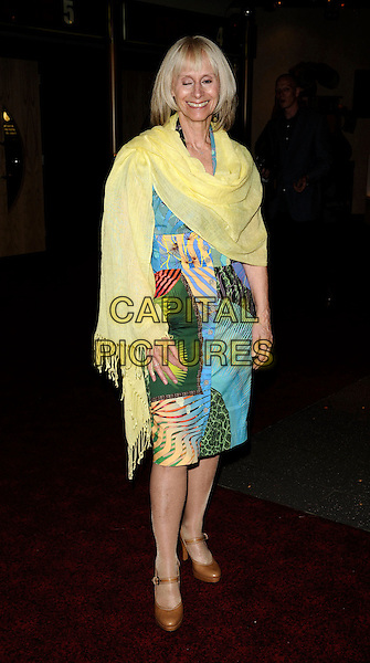 "RITA TUSHINGHAM.The ""Puffball"" UK premiere, Empire Cinema, London, England..July 17th, 2008.full length brown mary janes shoes blue green pattern print dress yellow wrap shawl blinking eyes funny face .CAP/CAN.©Can Nguyen/Capital Pictures."
