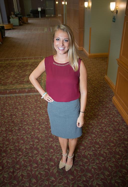 Krista Kuhlman poses for a portrait in Baker Center on Wednesday, September 9, 2015. Photo by Emily Matthews
