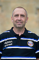 Steve Middleton, Kitman poses for a portrait at a Bath Rugby photocall. Bath Rugby Media Day on August 28, 2014 at Farleigh House in Bath, England. Photo by: Rogan Thomson for Onside Images