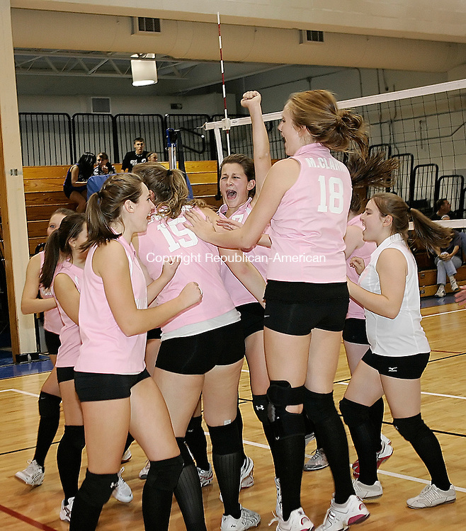 Burlington, CT 31 October 2008-103108CM06--The Northwestern Regional Volleyball team celebrates their win of the Berkshire League Volleyball Championships Friday night. Christopher Massa Republican-American