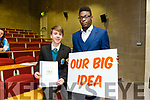 """Mercy Mounthawk student Tiernan Brosnan with his Idea Tralee Tracks and Trails and event organiser Qudus Oyebanji, Tralee Chamber Alliance -  """"Our Big Idea"""" event for TY Students at the IT Tralee North Campus on Monday"""