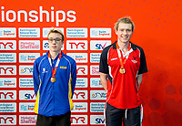 Picture by Allan McKenzie/SWpix.com - 13/12/2017 - Swimming - Swim England Winter Championships - Ponds Forge International Sport Centre - Sheffield, England - Ethan McNeil and Toby Mackay-Champion take bronze in the mens open 200m breaststroke.