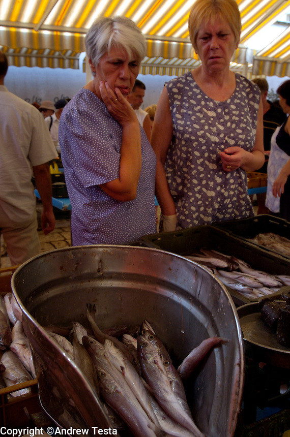 CROATIA.Split. August 2004..Women ponder their choice at the fish market in Split..©Andrew Testa for the New York Times