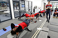Players exercise in the gym during the Swansea City Training and Press Conference at The Fairwood Training Ground, Swansea, Wales, UK. Thursday 08 February 2018